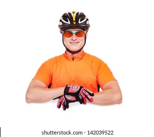 cyclist wearing helmet and orange jersey holding the horizontal blank closeup portrait