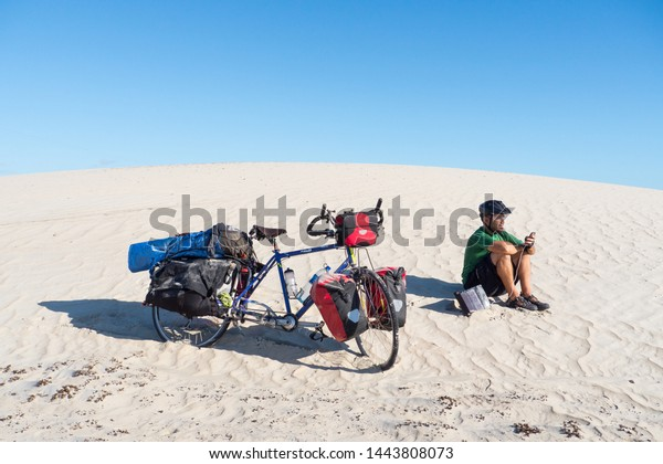 Cyclist Wild Camp Middle Desert Dune Stock Photo (Edit Now ...