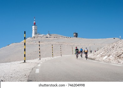 Cyclists climbing on Mont Ventoux in perfect weather