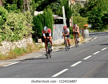 Cyclists competing in the Iron Man competition in Nice, outside Tourettes sur Loup in the south of France,  Europe. June 2018