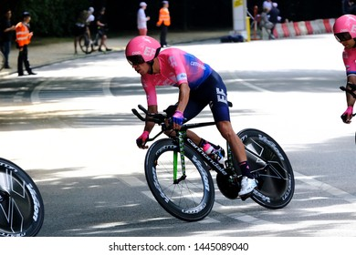 Cyclists during the second stage of the 106th edition of the Tour de France cycling race, a 27.6km team time trial in Brussels, Belgium on July 7, 2019.