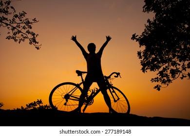 Cyclists, mountain