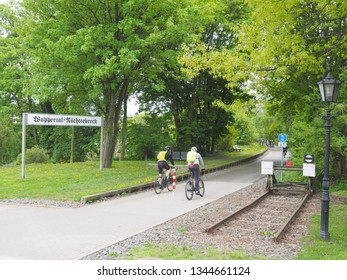 Cyclists on the so-called Nordbahntrasse, a former railway line in Wuppertal/ North Rhine- Westphalia Germany in April 2018