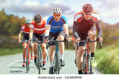 Cyclists out racing along country lanes in the in the United Kingdom