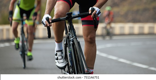 Cyclists with racing bikes during the cycling road race