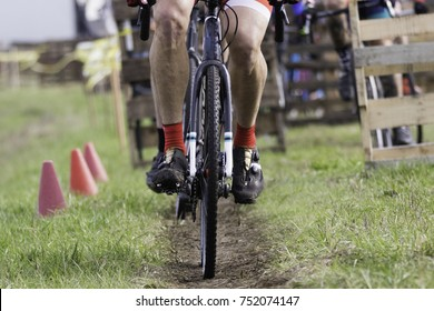 Cyclocross bicycle race tires on dirt track