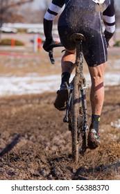 Cyclocross racing through mud