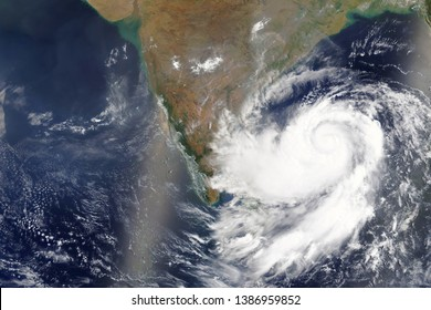 Cyclone Fani heading towards India in 2019 - Elements of this image furnished by NASA