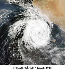 Cyclones Luban and Titli in northern Indian Ocean. Elements of this image furnished by NASA.