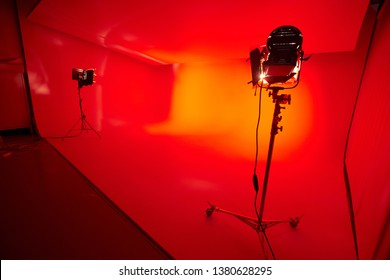 the cyclorama in a Studio lit with red light