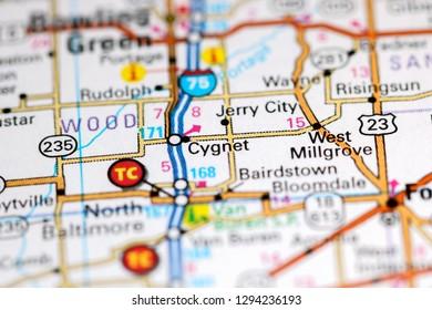 Cygnet. Ohio. USA on a map