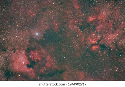 cygnus region of space with north american nebula and h alpha gasses in the night sky