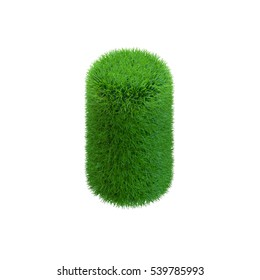 Cylinder from grass.Isolated on white background.3D rendering illustration. 3d isometric style.