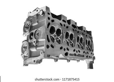 Cylinder head combustion engine isolated on white background
