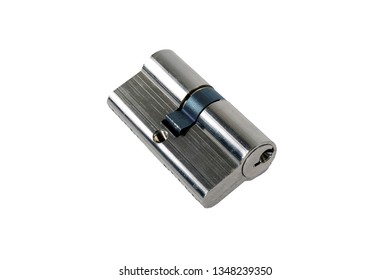 The cylinder of the lock with a pair, isolated on white background