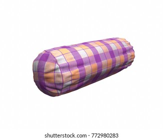 Cylinder shape Neck Pillow with purple and orange checker fabrics isolated on a White Background  3D Rendering