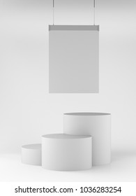 Cylinder Shape Product Display With Hanger. 3D render
