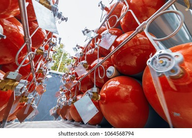 Cylinders for compressed gas. A lot of cylinders combined in a gas ramp.