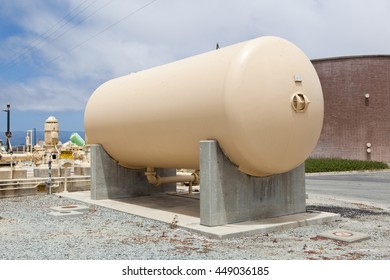 Cylindrical aboveground storage tank at a wastewater treatment plant