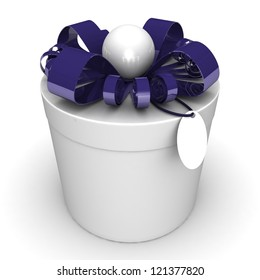 Cylindrical gift box, with a ribbon and bead like a present. over white background 3d illustration