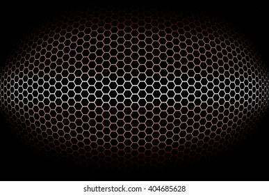 Cylindrical red background with octagonal grid. Illustration.