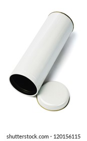 Cylindrical Shaped Metal Container Lying on White Background