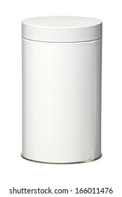 Cylindrical Shaped Metal Gift Container on White Background