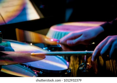 Cymbal and drumsticks