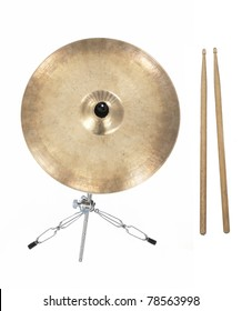 Cymbal and drumsticks from top