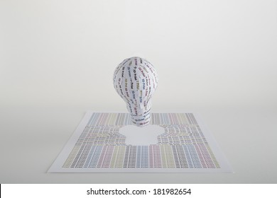 CYMK 3D Printing concept: lightbulb, from idea to solid model. 3d printers are home devices that bring life to concept and design ideas from paper to phisical keeping very low costs and fast times