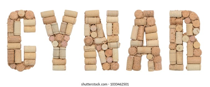 Cynar made of wine corks Isolated on white background