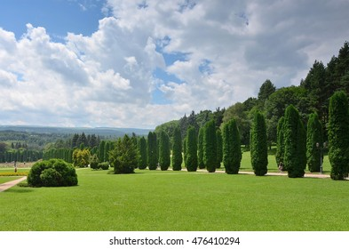 Cypress alley in the Valley of roses in Kislovodsk resort Park.