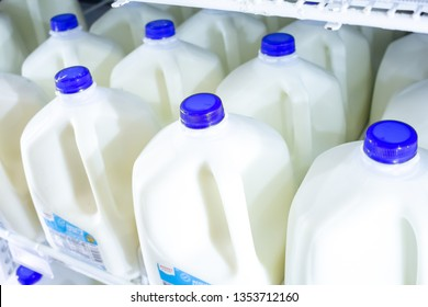 Cypress, California/United States - 03/19/19: A refrigerator shelf full of gallon sized milk in the dairy department of a grocery store