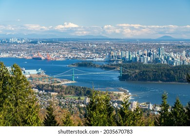 Cypress Mountain Vancouver Outlook. Vancouver city downtown and Harbour panorama view. Lions Gate Bridge, British Columbia, Canada.