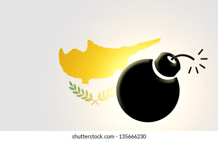 The Cypriot flag and bomb illustration. Closeup.