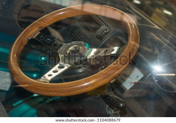 Cyprus, 08.10.17: Vintage Car part, Wheel, Shiny Automobile Elements, Green Color