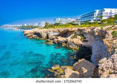 Cyprus. Ayia Napa Resort. Hotels off the coast. Blue Loguna in Cyprus. Rocky seashore. Relax in a resort hotel. Travels in Cyprus. Mediterranean Sea. Cavo Greco. Ayia Napa Resort Panorama. - Shutterstock ID 1752063743