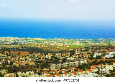 Cyprus with bird's-eye view. Panoramic aerial view of Cyprus. Cyprus in september, Indian Summer