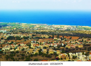 Cyprus with bird's-eye view. Panoramic aerial view of Cyprus. Cyprus in september