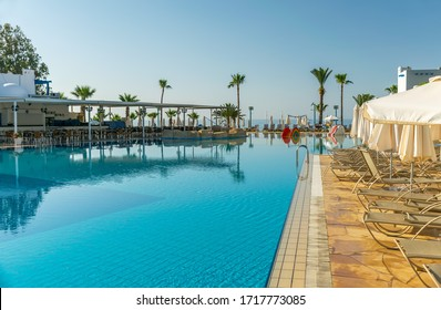 CYPRUS, CALLISTO HOLIDAY VILLAGE - MAY 12/2018: In the early morning, tourists will find a pool with clear, warm water.