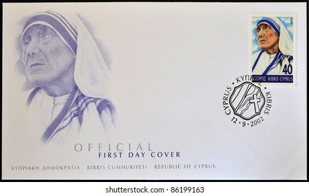 CYPRUS - CIRCA 2002: A stamp printed in Cyprus shows Mother Teresa of Calcutta, first day of issue, circa 2002