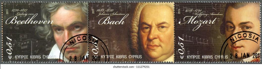 CYPRUS - CIRCA 2011 : A stamp printed in Cyprus shows Ludwig van Beethoven (1770-1827), Johann Sebastian Bach(1685-1750) and Wolfgang Amadeus Mozart (1756-1791), circa 2011