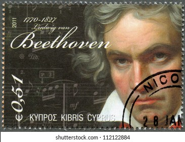 CYPRUS - CIRCA 2011 : A stamp printed in Cyprus shows Ludwig van Beethoven (1770-1827), circa 2011