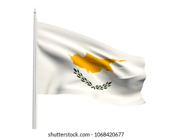 Cyprus flag floating in the wind with a White sky background. 3D illustration.