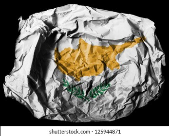 Cyprus flag  painted on crumpled paper on black background