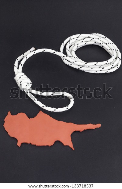 Cyprus hanging from a noose, (Concept Cyprus financial crisis)