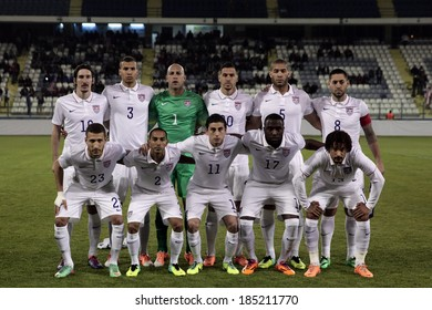 CYPRUS, LARNAKA- MARCH 05:  USA's  team pose for a photo during the friendly game  between Ukraine  and USA in Larnaka on March  05,2014
