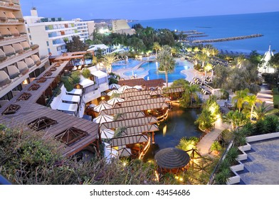 Cyprus, Limassol. Beach, hotel, swimming pool and bar: top view