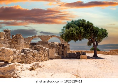 Cyprus. Limassol. Curion. Arches of the early Christian Basilica. Ruins of an ancient city in Cyprus. Archaeological Park on the Mediterranean coast. The remains of an ancient city and a green tree. - Shutterstock ID 1926329411