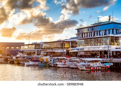 CYPRUS, LIMASSOL - DECEMBER 29, 2016: Limassol Old Port at sunset.